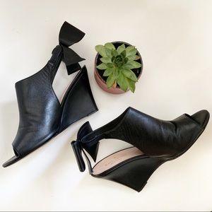 KATE SPADE Peep Toe Wedges Black Leather bow 7